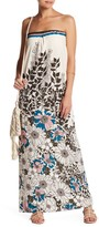 Love Stitch Retro Floral Print Strapless Maxi Dress
