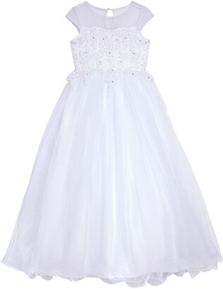 Us Angels Beaded Cap Sleeve Communion Dress