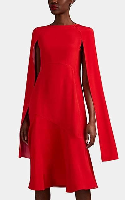 Calvin Klein Women's Cape-Sleeve Silk Crepe Dress - Red