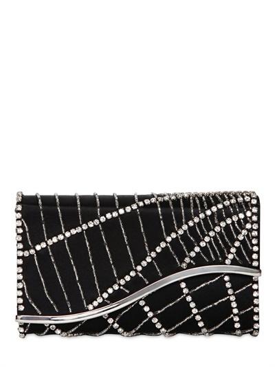 Giorgio Armani Swarovski Embroidered Silk Satin Clutch