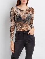 Charlotte Russe Floral Mesh Cut-Out Bodysuit