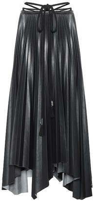 Nanushka Beeja pleated faux leather midi skirt