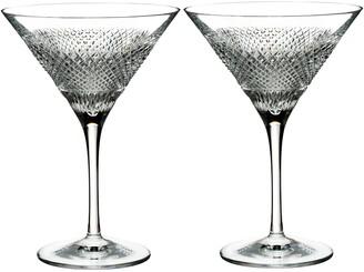 Waterford Diamond Line Set of 2 Leaded Crystal Martini Glasses
