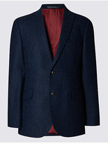 M&s Collection Luxury Pure New Wool Herringbone 2 Button Jacket