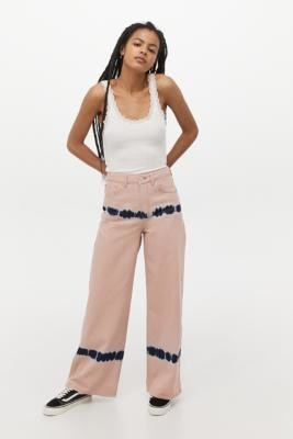 BDG Pink Tie-Dye Puddle Jeans - Pink 24 at Urban Outfitters