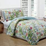 Panama Jack Matisse Palm Reversible Queen Quilt Set in Green