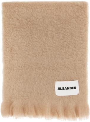 Jil Sander Beige Mohair and Wool Scarf