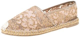 Valentino Metallic Pink Lace Espadrille Flats Size 40