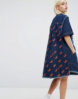 House of Holland x Lee Denim Shirt Dress with All Over Back Logo