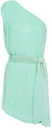 retrofete One-shoulder Velvet-trimmed Sequined Crepe De Chine Mini Dress