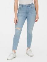 Gap High Rise Curvy Distressed True Skinny Ankle Jeans with Secret Smoothing Pockets