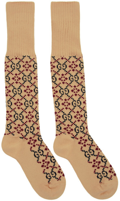 Gucci Beige GG Supreme Diamond Long Socks
