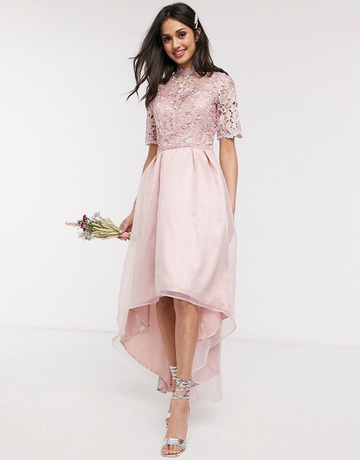 Chi Chi London Chi Chi Bridesmaid Lisbeth lace detail midi dress in rose gold