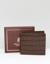 William Hunt Brown Crock Lizard Leather Bifold Wallet