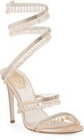 Rene Caovilla Chandelier Snake Beaded Crystal Ankle-Wrap Sandals