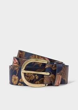 Women's Gold 'Beetle Botanical' Print Leather Belt