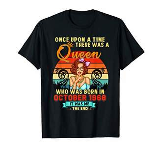 A Queen Was Born In October Girl 1968 Happy Birthday T-Shirt