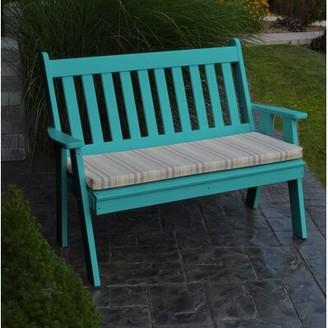 Highland Dunes Hawkesbury Traditional Plastic Garden Bench Color: Aruba Blue