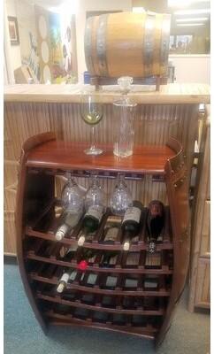 Andover Mills Baby & Kids 29 Bottle Solid Wood Floor Wine Bottle and Glass Rack in Brown