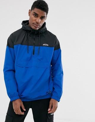 Bershka overhead windbreaker jacket with half zip in blue