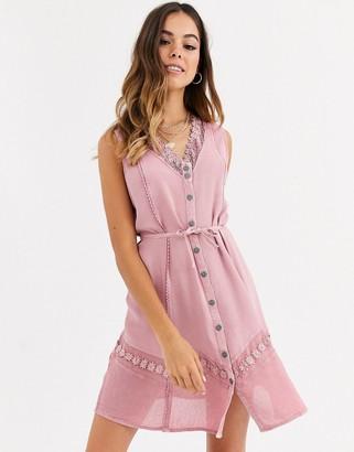 Brave Soul crochet trim dress in antique pink