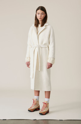 Ganni Boucle Wool Long Wrap Coat