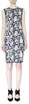 Lanvin Sleeveless Brocade Knit Shift Dress, Blue Fonce