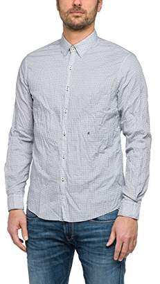 Replay Men's M4947 .000.71342 Casual Shirt, (White/Black 10), M