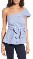 J.o.a. Women's Stripe One-Shoulder Peplum Top