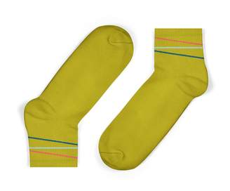 Unisock Mustard Multi-Coloured Diagonal Stripes Ankle Socks