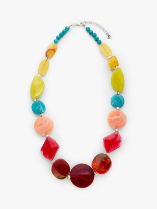 One Button Glass Bead Statement Necklace, Multi