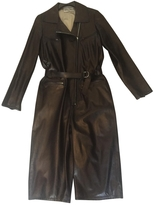 Saint Laurent Black Leather Trench coat