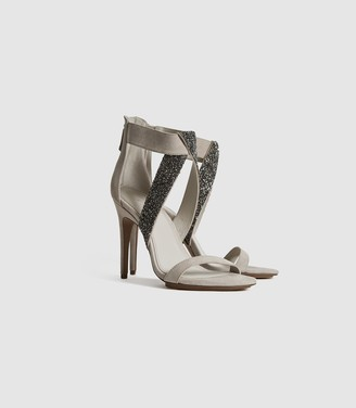 Reiss Jewel - Embellished Stiletto Heels in Taupe