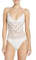 Robin Piccone Women's Crochet One-Piece Swimsuit