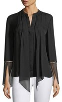 Elie Tahari Nicola Long-Sleeve Pleated Button-Front Chiffon Blouse