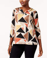 Alfred Dunner Embellished Geo-Print Top