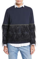 Brunello Cucinelli Crewneck Long-Sleeve Pullover Sweatshirt with Ostrich Feather Tiers