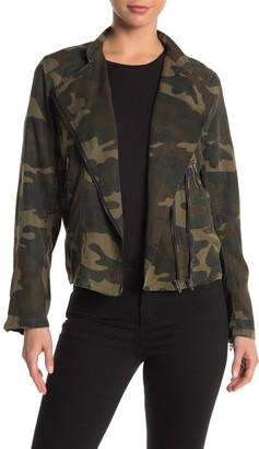 Blanknyc Denim Camo Print Woven Moto Jacket