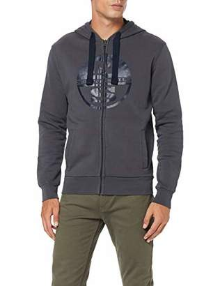 North Sails Men's Hooded Full Zip W/Logo Kniited Tank Top, Navy Blue 802.0, Small
