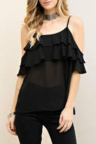 Entro Cold Shoulder Ruffle Top