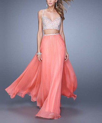 La Femme Women's Special Occasion Dresses Hot - Hot Coral Beaded-Top Two-Piece V-Neck Gown - Women