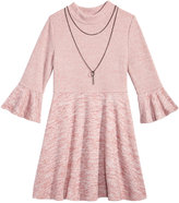 My Michelle Bell-Sleeve Sweater Dress and Necklace Set, Big Girls (7-16)