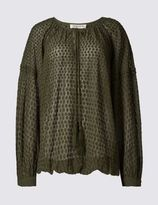 Marks and Spencer Spotted Dobby 3/4 Sleeve Blouse