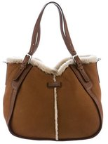 Tod's Shearling & Leather Satchel