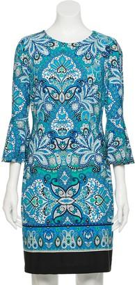 Chaps Women's Border-Print Bell-Sleeve Sheath Dress