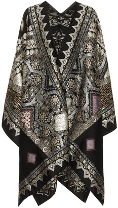 Etro Embroidered wool-blend poncho