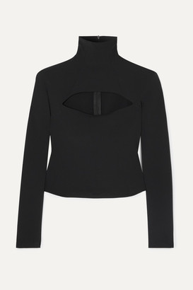 A.W.A.K.E. Mode Mailbox Cutout Stretch-crepe Turtleneck Top - Black