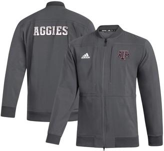 adidas Men's Gray Texas A&M Aggies Sideline Full-Zip Bomber Jacket