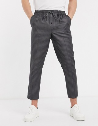 New Look pinstripe smart joggers in mid grey