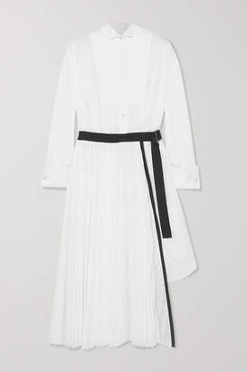 Sacai Belted Pleated Poplin And Piqué Midi Dress - White